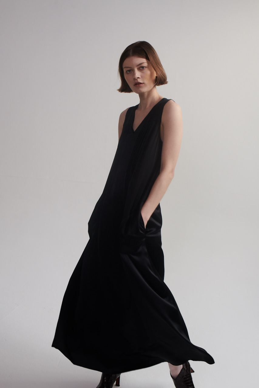 Maxi Dress in Black Silk