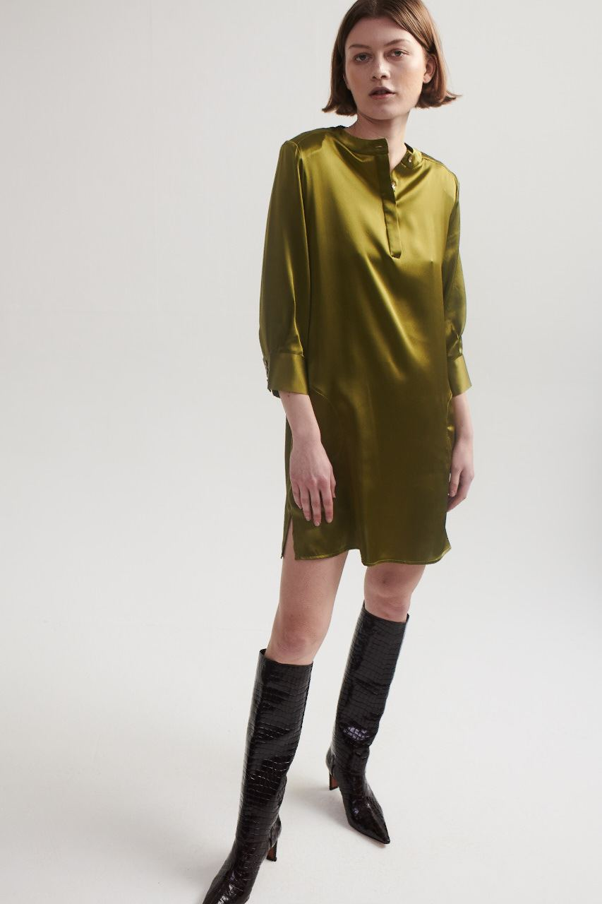 Shirt Dress in Chartreuse