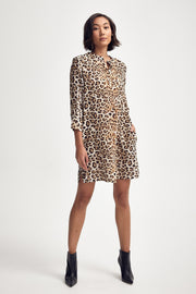 Shirt Dress in Leopard Silk