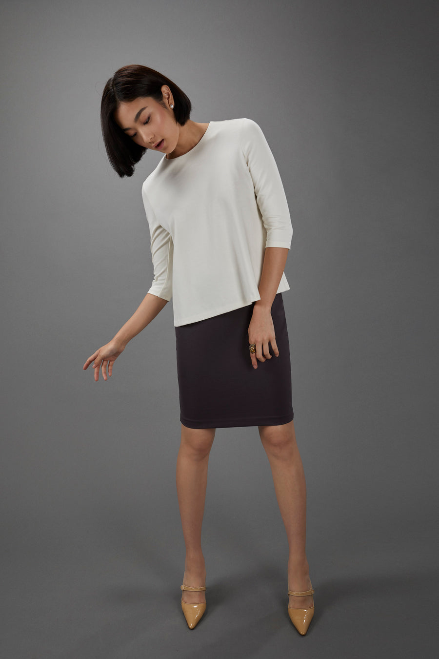 Pencil Skirt in Pewter