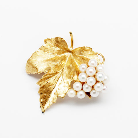 Tiffany Pearl & 18K Yellow Gold Leaf Pin