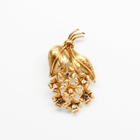 Tiffany Diamond & Sapphire 18K Yellow Gold Flowers & Leaves Pin