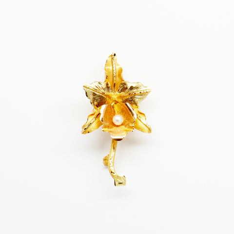 18K Yellow Gold & Pearl Flower Pin