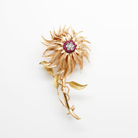 Diamond & Ruby 18K Yellow Gold Flower Pin