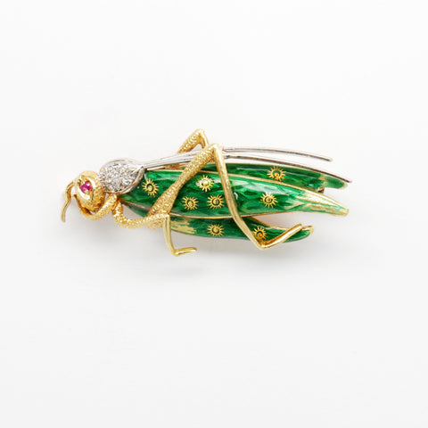 Diamond & Ruby 18K Yellow Gold Enameled Grasshopper Pin