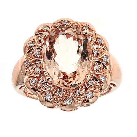 14k Rose Gold Morganite and Diamonds Ring