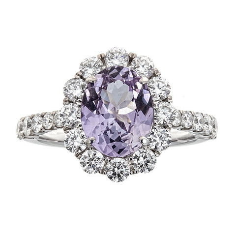 Pink Tanzanite & Diamond Ring in 18K White Gold