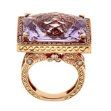 Amethyst & Diamond Ring in 18K Rose Gold