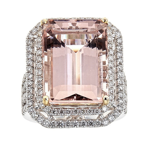 Morganite & Diamond Ring in 14K White Gold