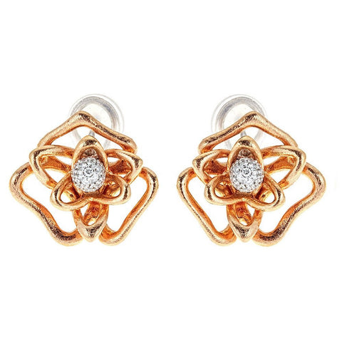 Roberto Coin 18K Rose Gold & Diamond Flower Earrings