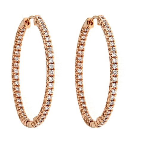 Zoccai 18K Rose Gold & Diamond Hoop Earrings