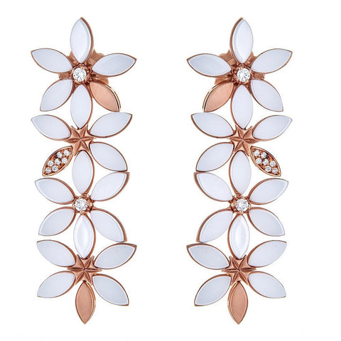 18K Rose Gold White Agate & Diamond Flower Earrings