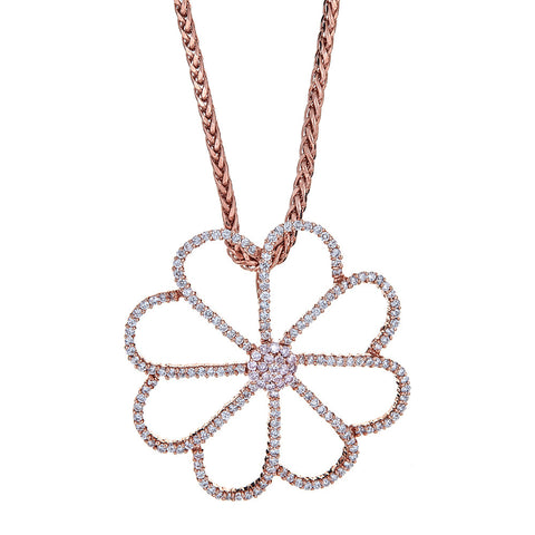 18K Rose Gold & Diamond Flower Pendant with 14K Rose Gold Chain