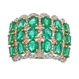 Emerald & Diamond Ring in 18K White Gold