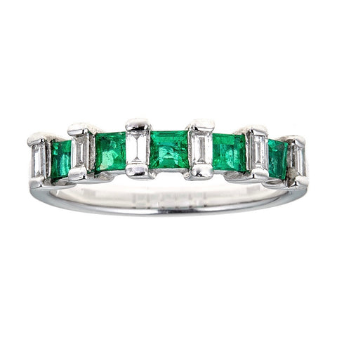 Emerald & Diamond Ring in Platinum