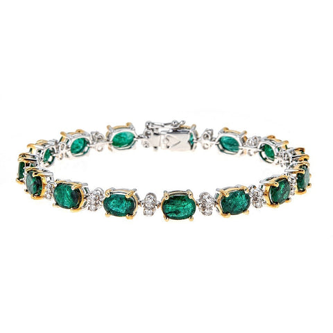Emerald & Diamond 14K White Gold Bracelet