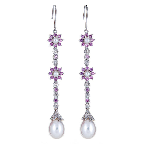 SOLD - Pearl, Pink Sapphire, & Diamond 14K White Gold Earrings