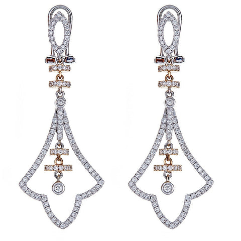 14K Two-Tone Gold & Diamond Earrings