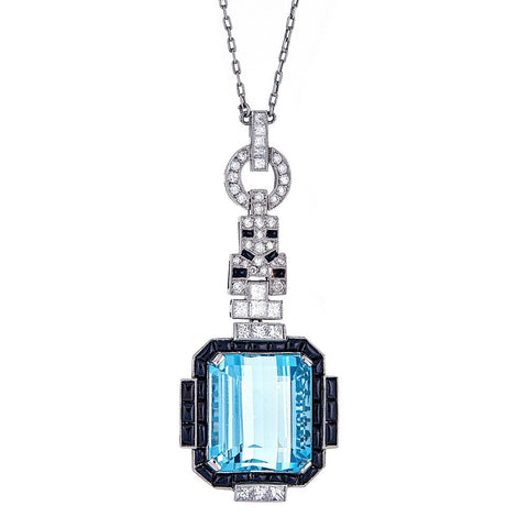 Aquamarine, Diamond, & Onyx Platinum Pendant