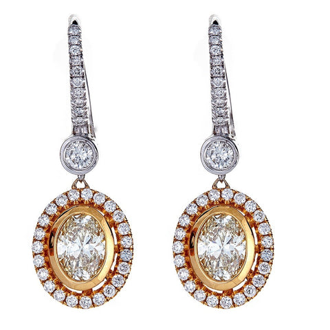 18K Two-Tone Gold & Diamond Earrings