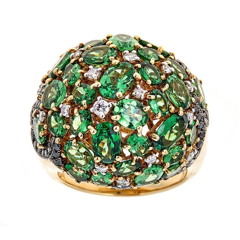 18K Yellow Gold Tsavorite & Diamond Ring