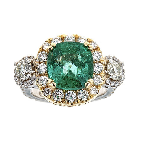 Emerald & Diamond Ring in 18K Two-Tone Gold