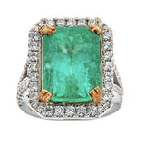 Emerald & Diamond Ring in 14K Two-Tone Gold