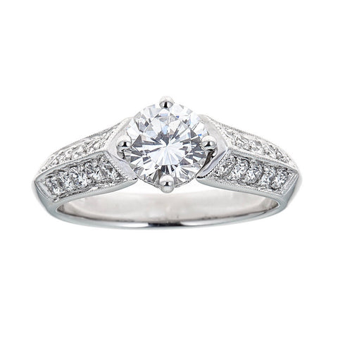 Simon G. 18K White Gold & Diamond Engagement Ring