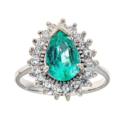 Emerald & Diamond Ring in 14K White Gold