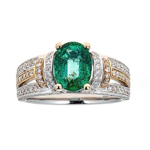 Natalie K. Emerald & Diamond Ring in 18K Two-Tone Gold