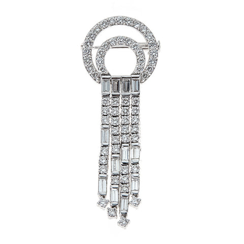 Estate 18K White Gold & Diamond Pin