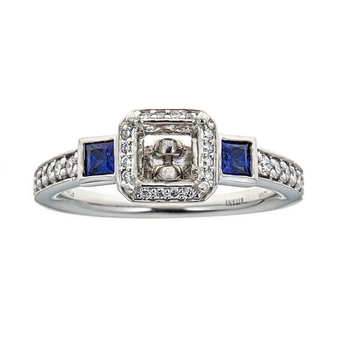 Ritani Platinum Diamond & Sapphire Engagement Ring
