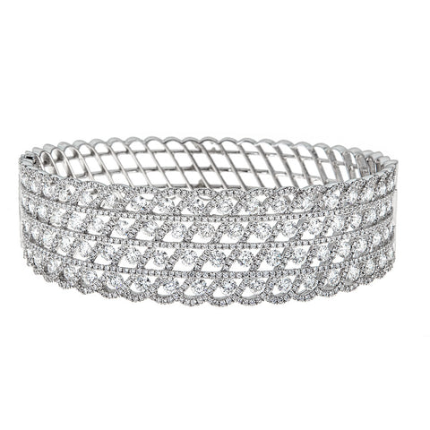 18K White Gold & Diamond Cuff Bracelet
