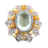Kyanite, Mother of Pearl & Diamond 18K White Gold Ring