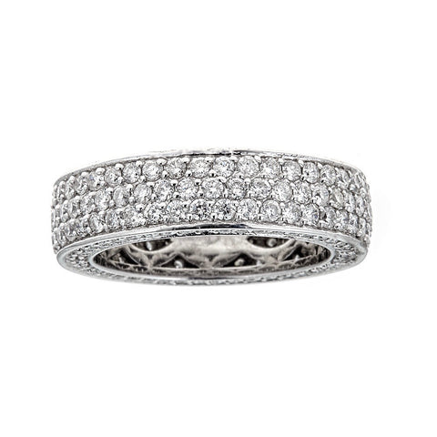 Diamond Studded 18K White Gold Band Ring
