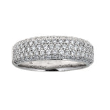 Diamond Studded 14K White Gold Band Ring
