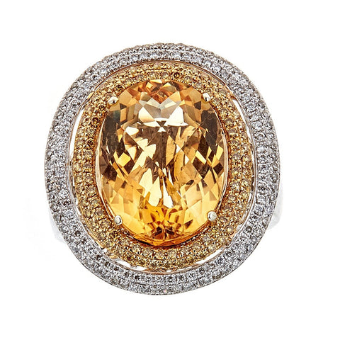 Natalie K. Citrine, Yellow Sapphire & Diamond 14K White Gold Ring