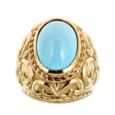 Persian Turquoise 18K Yellow Gold Ring
