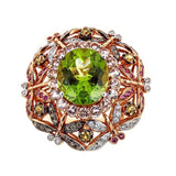 Peridot, White Sapphire, Pink Sapphire & Diamond 18K Yellow Gold Ring