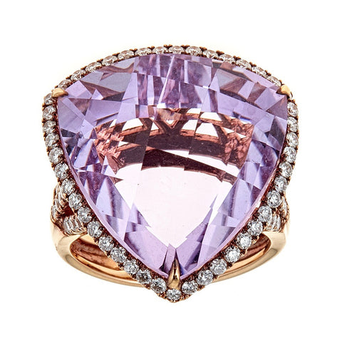 Amethyst & Diamond Ring in 14K Rose Gold