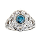 Blue Diamond & White Diamond 18K White Gold & Ring