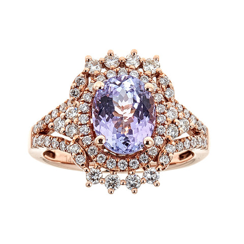 Natural Pink Tanzanite & Diamond 14K Rose Gold Ring