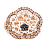 Zoccai Mother of Pearl, Black & White Diamond 18K Rose Gold Ring