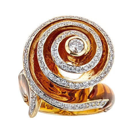 Enameled 18K Yellow Gold & Diamond Ring