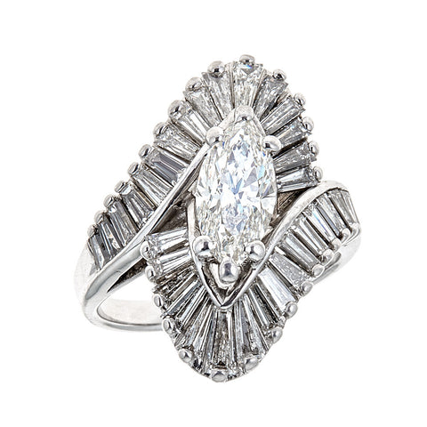 Estate 14K White Gold & Diamond Ring