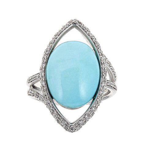ZYDO Persian Turquoise & Diamond 18K White Gold Ring