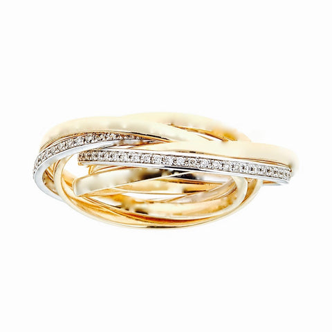 14k Yellow Gold and Diamonds Rolling Ring