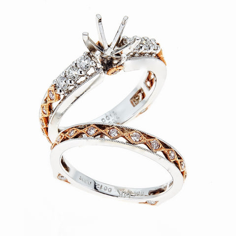 Natalie K 18k Two-Tone Gold and Diamonds Wedding Set