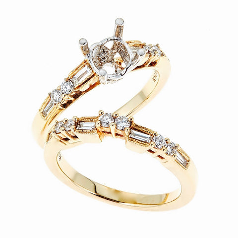 Natalie K 14k Yellow Gold and Diamonds Wedding Set