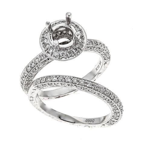 Natalie K. 18K White Gold Engagement & Wedding Ring Set